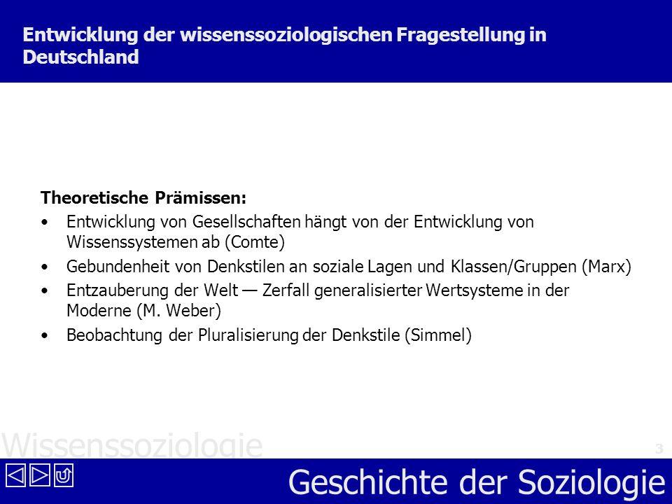 Wissenssoziologie Geschichte der Soziologie 3 Entwicklung der wissenssoziologischen Fragestellung in Deutschland Theoretische Prämissen: Entwicklung v