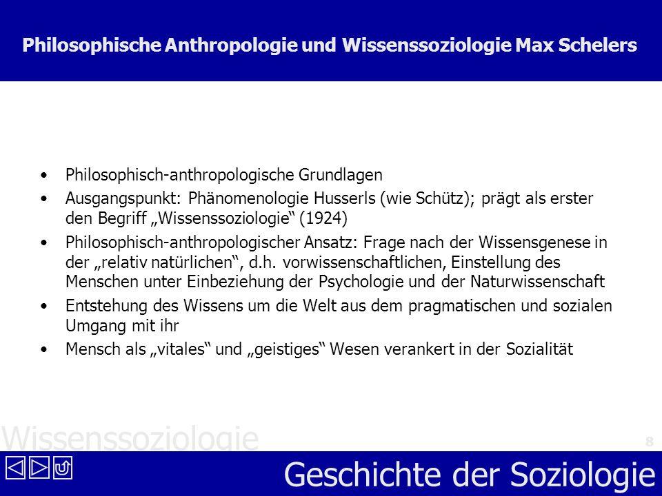 Wissenssoziologie Geschichte der Soziologie 8 Philosophische Anthropologie und Wissenssoziologie Max Schelers Philosophisch-anthropologische Grundlage