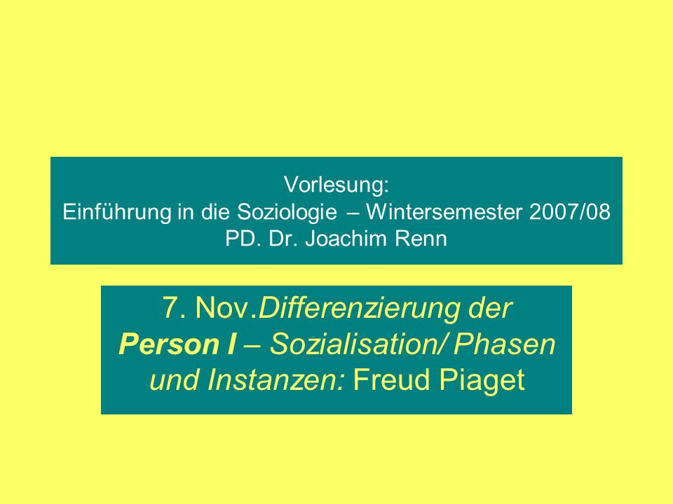 Vorlesung: Einführung in die Soziologie – Wintersemester 2007/08 PD. Dr. Joachim Renn 7. Nov.Differenzierung der Person I – Sozialisation/ Phasen und