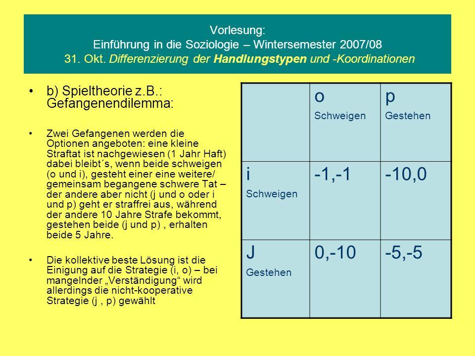 Vorlesung: Einführung in die Soziologie – Wintersemester 2007/08 31. Okt. Differenzierung der Handlungstypen und -Koordinationen b) Spieltheorie z.B.: