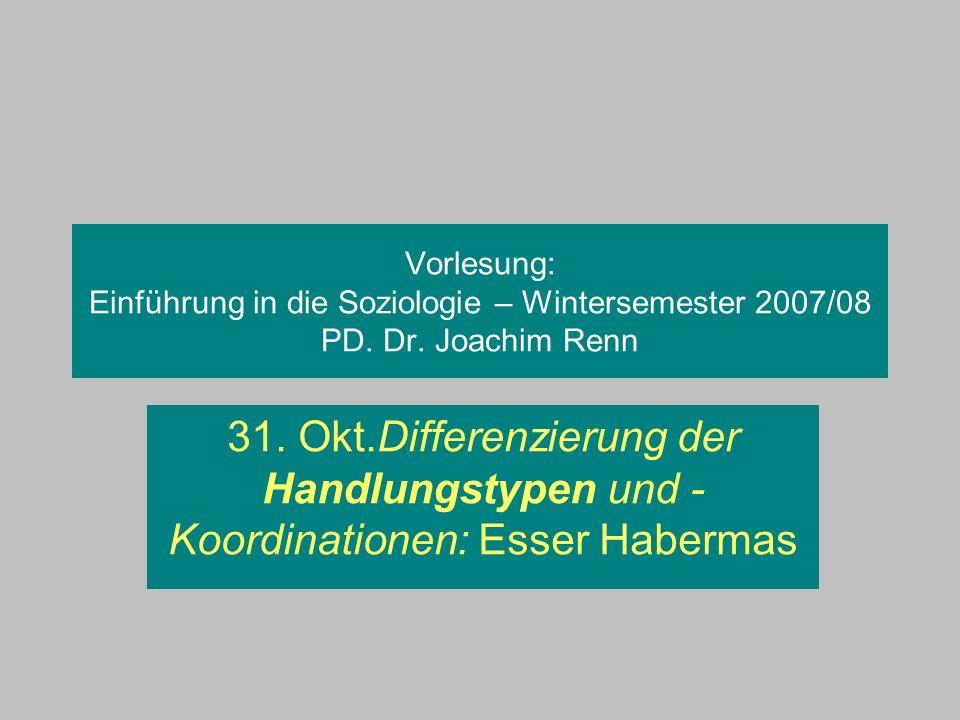 Vorlesung: Einführung in die Soziologie – Wintersemester 2007/08 PD. Dr. Joachim Renn 31. Okt.Differenzierung der Handlungstypen und - Koordinationen: