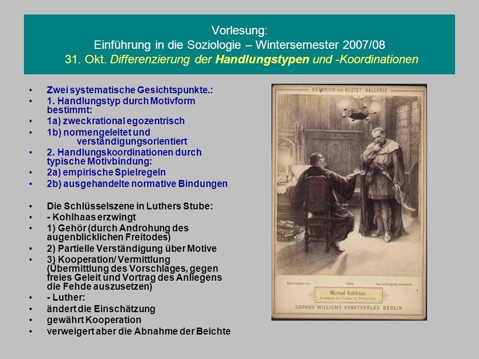 Vorlesung: Einführung in die Soziologie – Wintersemester 2007/08 31. Okt. Differenzierung der Handlungstypen und -Koordinationen Zwei systematische Ge