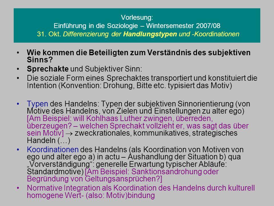 Vorlesung: Einführung in die Soziologie – Wintersemester 2007/08 31. Okt. Differenzierung der Handlungstypen und -Koordinationen Wie kommen die Beteil