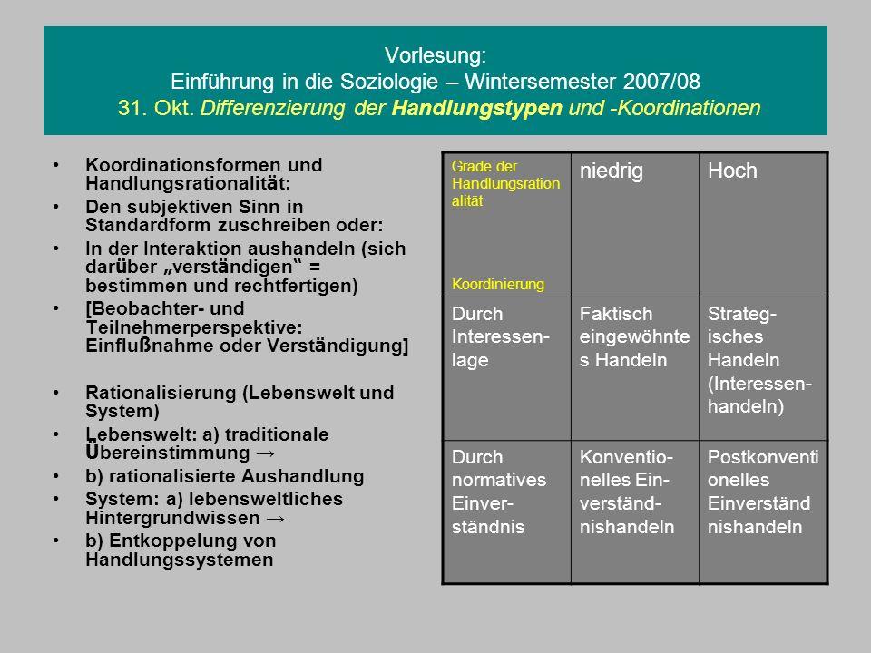 Vorlesung: Einführung in die Soziologie – Wintersemester 2007/08 31. Okt. Differenzierung der Handlungstypen und -Koordinationen Koordinationsformen u