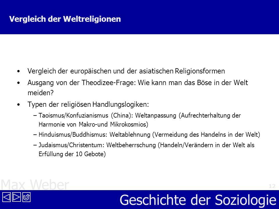 Max Weber Geschichte der Soziologie 12 Vergleich der Weltreligionen Vergleich der europäischen und der asiatischen Religionsformen Ausgang von der The