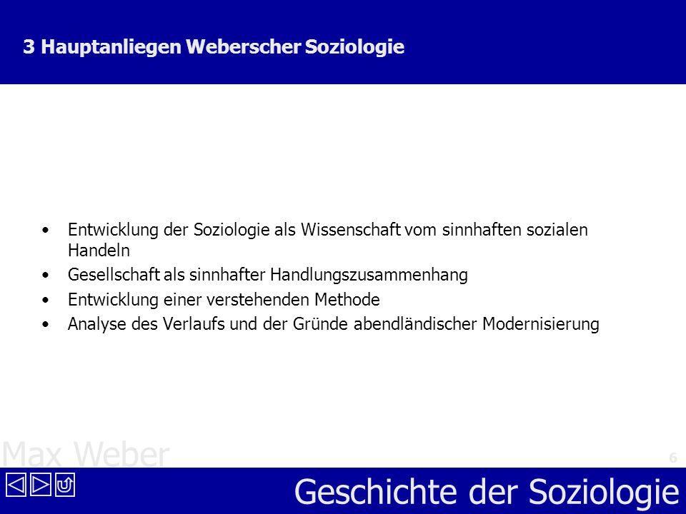 Max Weber Geschichte der Soziologie 6 3 Hauptanliegen Weberscher Soziologie Entwicklung der Soziologie als Wissenschaft vom sinnhaften sozialen Handel