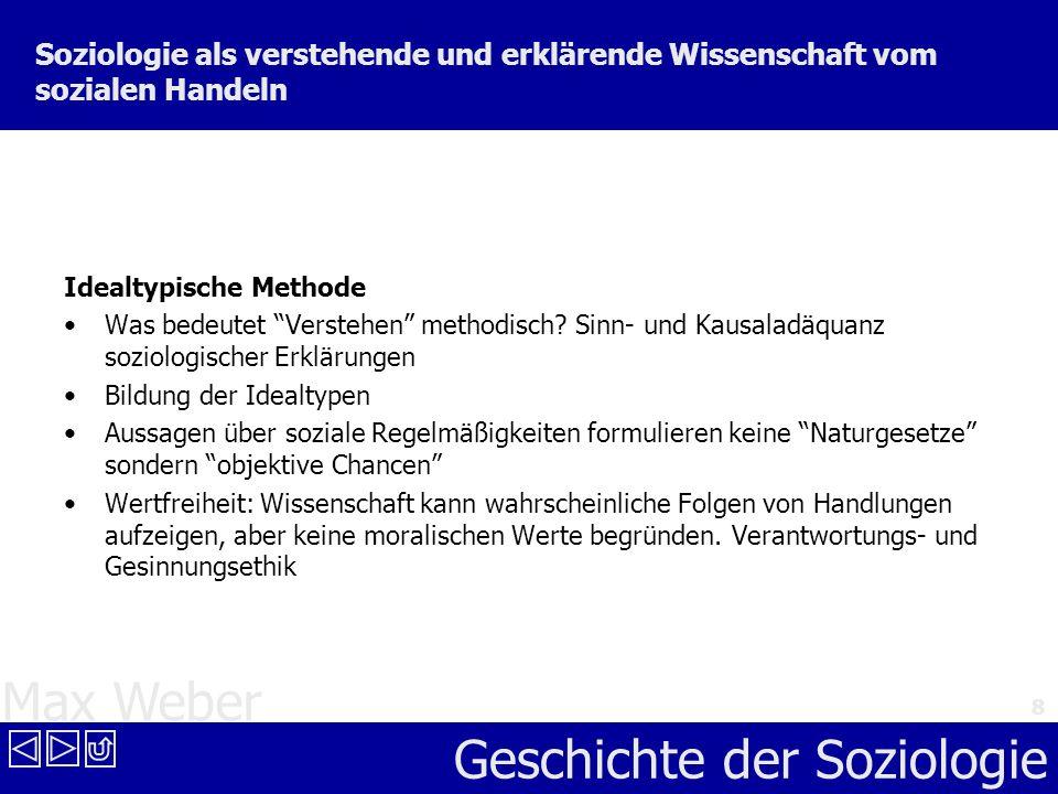 Max Weber Geschichte der Soziologie 8 Soziologie als verstehende und erklärende Wissenschaft vom sozialen Handeln Idealtypische Methode Was bedeutet V