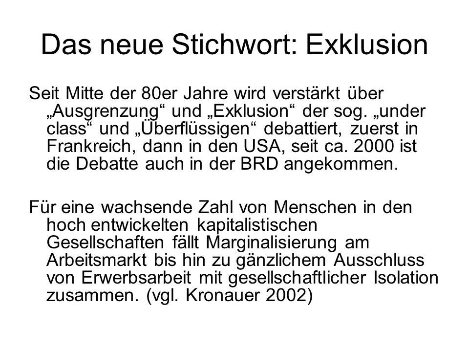 Das neue Stichwort: Exklusion Seit Mitte der 80er Jahre wird verstärkt über Ausgrenzung und Exklusion der sog.