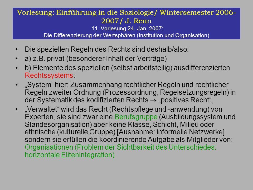 Vorlesung: Einführung in die Soziologie/ Wintersemester 2006- 2007/ J. Renn 11. Vorlesung 24. Jan. 2007: Die Differenzierung der Wertsphären (Institut
