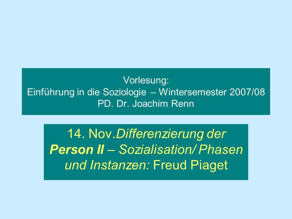 Vorlesung: Einführung in die Soziologie – Wintersemester 2007/08 PD. Dr. Joachim Renn 14. Nov.Differenzierung der Person II – Sozialisation/ Phasen un