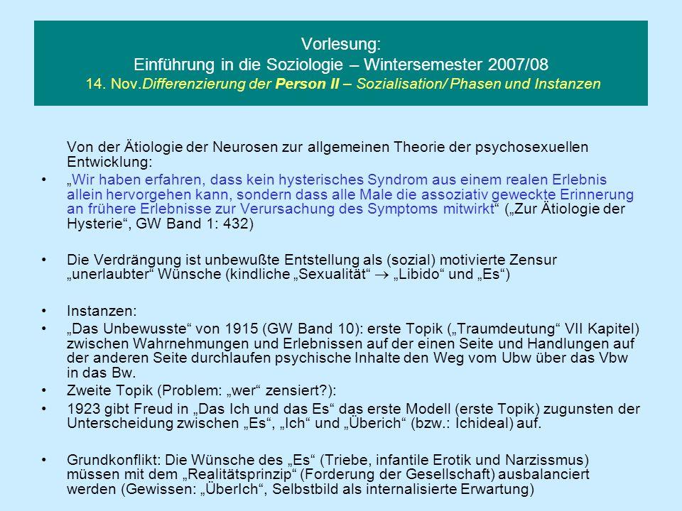 Vorlesung: Einführung in die Soziologie – Wintersemester 2007/08 14. Nov.Differenzierung der Person II – Sozialisation/ Phasen und Instanzen Von der Ä