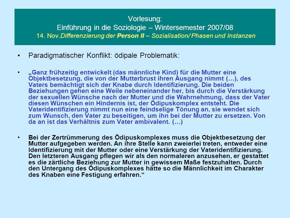 Vorlesung: Einführung in die Soziologie – Wintersemester 2007/08 14. Nov.Differenzierung der Person II – Sozialisation/ Phasen und Instanzen Paradigma