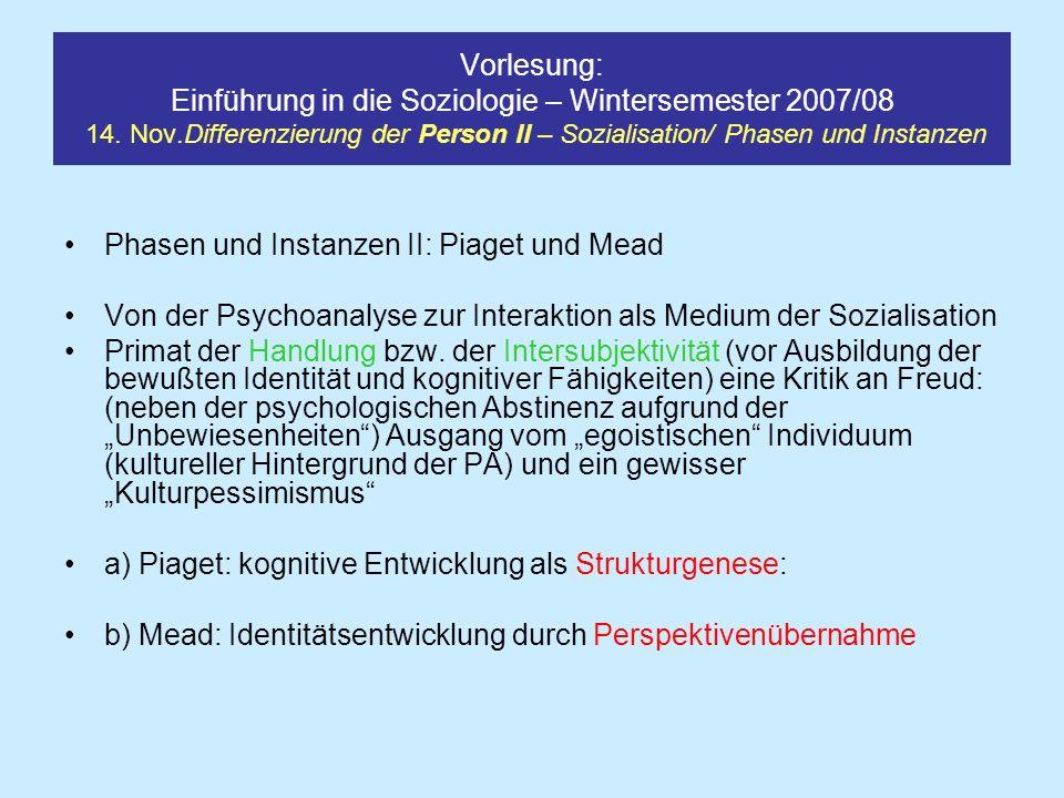 Vorlesung: Einführung in die Soziologie – Wintersemester 2007/08 14. Nov.Differenzierung der Person II – Sozialisation/ Phasen und Instanzen Phasen un