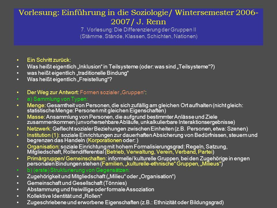Vorlesung: Einführung in die Soziologie/ Wintersemester 2006- 2007/ J. Renn 7. Vorlesung: Die Differenzierung der Gruppen II (Stämme, Stände, Klassen,