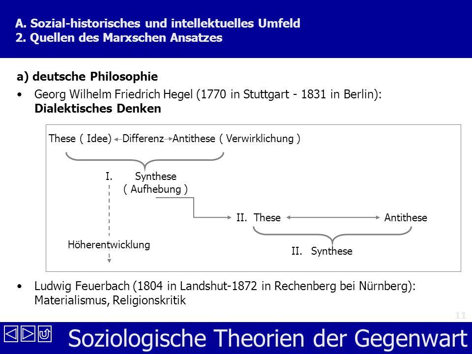 Soziologische Theorien der Gegenwart 11 a) deutsche Philosophie Georg Wilhelm Friedrich Hegel (1770 in Stuttgart - 1831 in Berlin): Dialektisches Denken Ludwig Feuerbach (1804 in Landshut-1872 in Rechenberg bei Nürnberg): Materialismus, Religionskritik A.