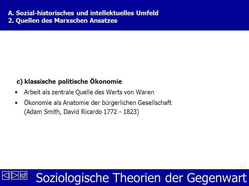 Soziologische Theorien der Gegenwart 13 A.Sozial-historisches und intellektuelles Umfeld 2.