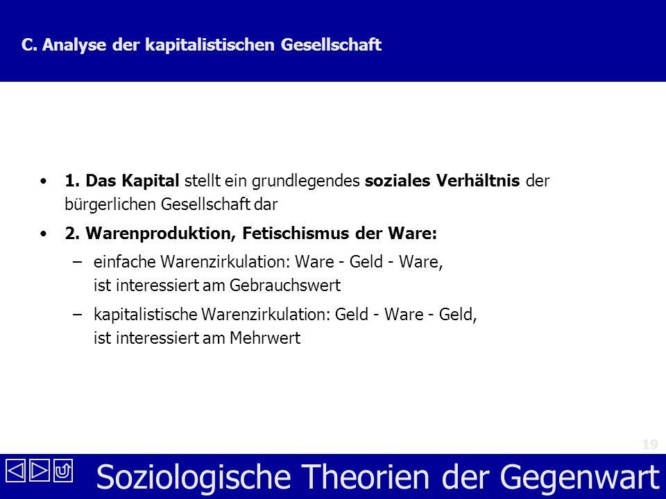 Soziologische Theorien der Gegenwart 19 C.Analyse der kapitalistischen Gesellschaft 1.