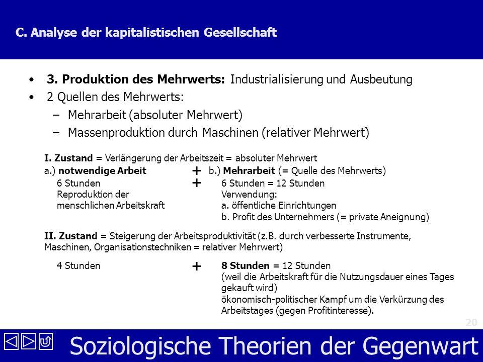 Soziologische Theorien der Gegenwart 20 C.Analyse der kapitalistischen Gesellschaft 3.