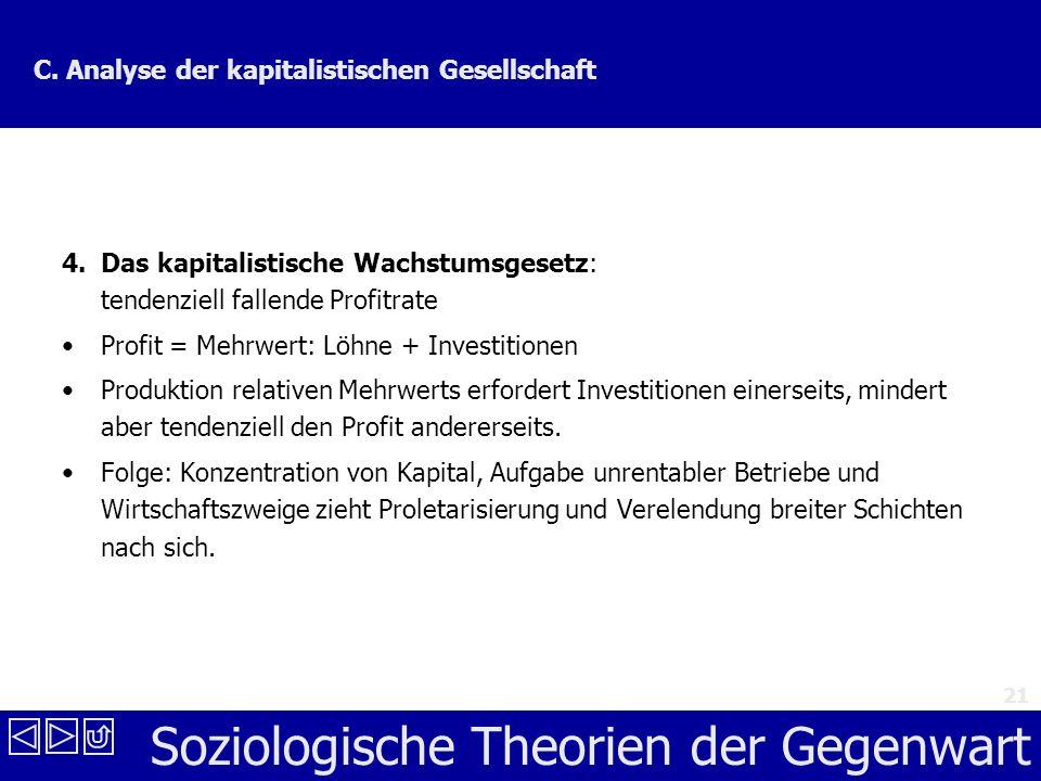 Soziologische Theorien der Gegenwart 21 C.Analyse der kapitalistischen Gesellschaft 4.