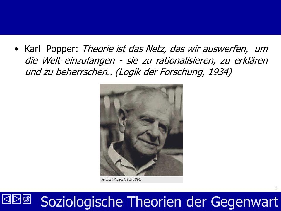 Soziologische Theorien der Gegenwart 3 Karl Popper: Theorie ist das Netz, das wir auswerfen, um die Welt einzufangen - sie zu rationalisieren, zu erklären und zu beherrschen..