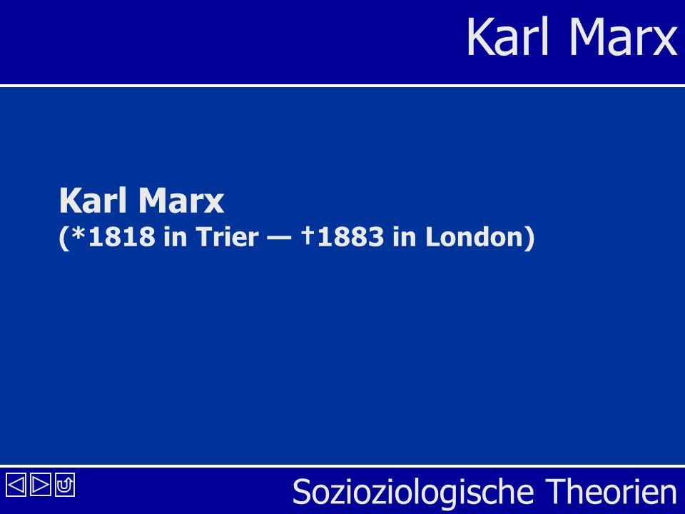 Sozioziologische Theorien Karl Marx Karl Marx (*1818 in Trier 1883 in London)