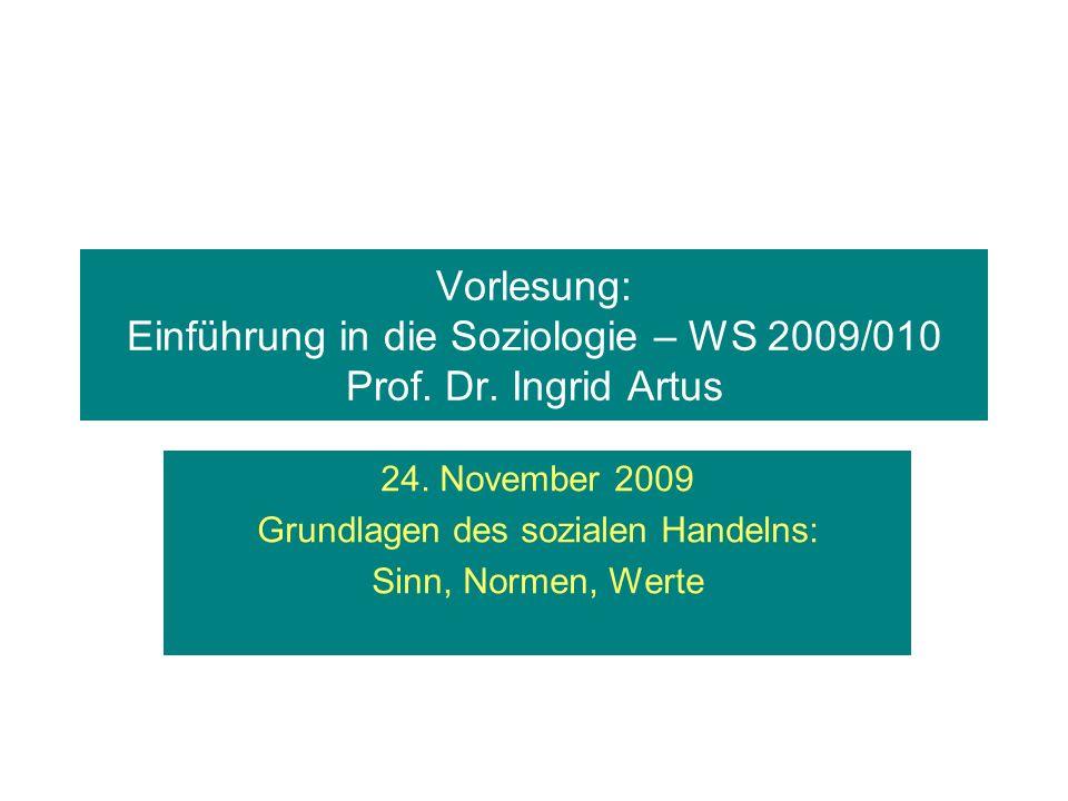 Vorlesung: Einführung in die Soziologie – WS 2009/010 Prof. Dr. Ingrid Artus 24. November 2009 Grundlagen des sozialen Handelns: Sinn, Normen, Werte
