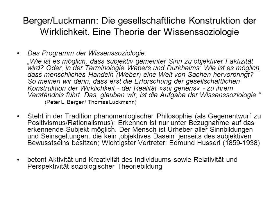 Berger/Luckmann: Die gesellschaftliche Konstruktion der Wirklichkeit. Eine Theorie der Wissenssoziologie Das Programm der Wissenssoziologie: Wie ist e