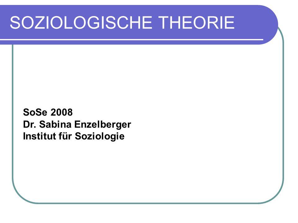 SOZIOLOGISCHE THEORIE SoSe 2008 Dr. Sabina Enzelberger Institut für Soziologie