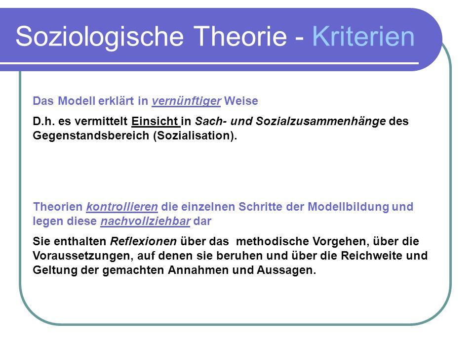 Soziologische Theorie - Kriterien Das Modell erklärt in vernünftiger Weise D.h.