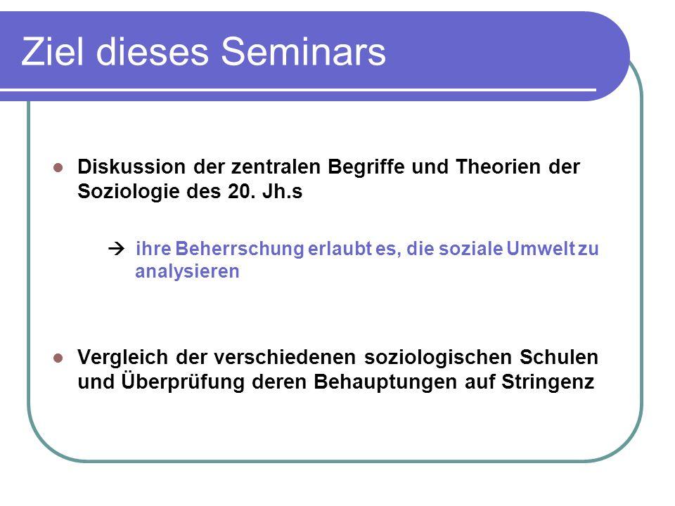 Ziel dieses Seminars Diskussion der zentralen Begriffe und Theorien der Soziologie des 20.