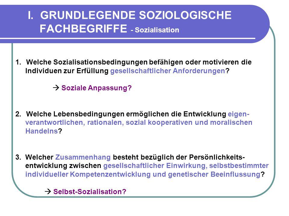 I. GRUNDLEGENDE SOZIOLOGISCHE FACHBEGRIFFE - Sozialisation 1.Welche Sozialisationsbedingungen befähigen oder motivieren die Individuen zur Erfüllung g