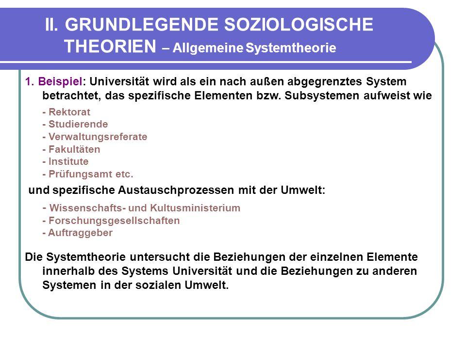 II.GRUNDLEGENDE SOZIOLOGISCHE THEORIEN – Allgemeine Systemtheorie 1.
