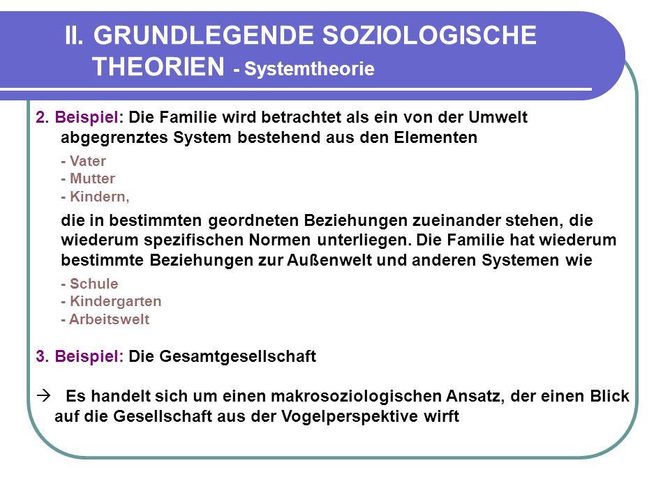 II.GRUNDLEGENDE SOZIOLOGISCHE THEORIEN - Systemtheorie 2.