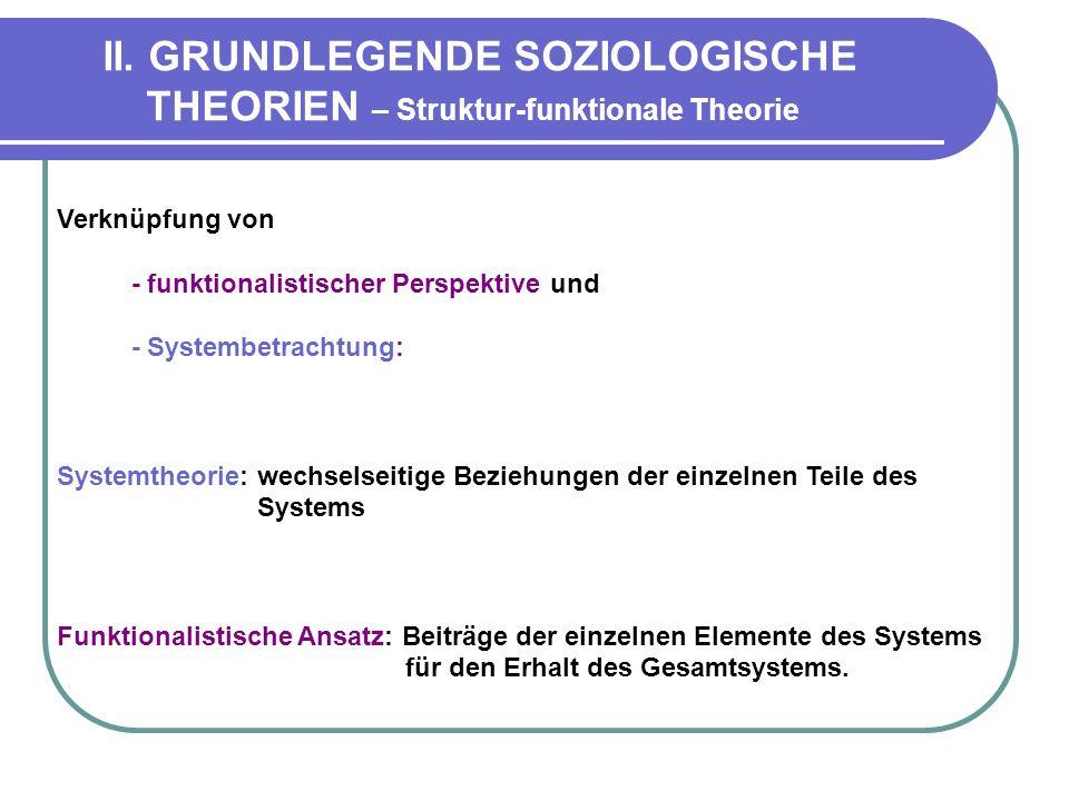 II. GRUNDLEGENDE SOZIOLOGISCHE THEORIEN – Struktur-funktionale Theorie Verknüpfung von - funktionalistischer Perspektive und - Systembetrachtung: Syst