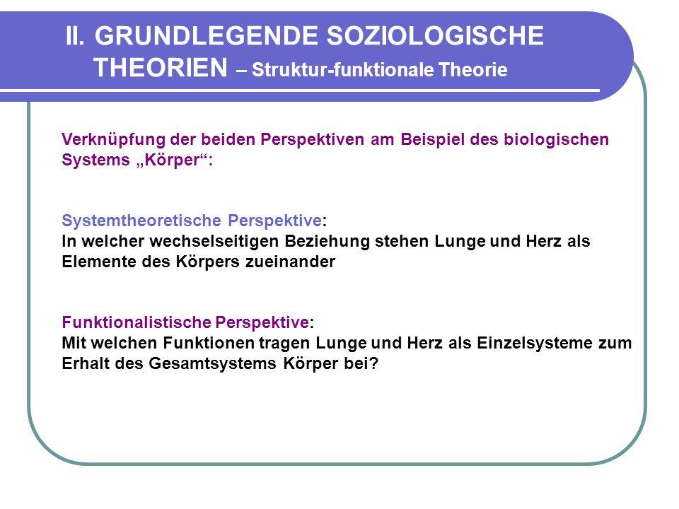 II. GRUNDLEGENDE SOZIOLOGISCHE THEORIEN – Struktur-funktionale Theorie Verknüpfung der beiden Perspektiven am Beispiel des biologischen Systems Körper