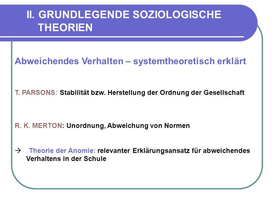 II.GRUNDLEGENDE SOZIOLOGISCHE THEORIEN Abweichendes Verhalten – systemtheoretisch erklärt T.