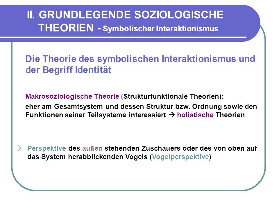 II. GRUNDLEGENDE SOZIOLOGISCHE THEORIEN - Symbolischer Interaktionismus Die Theorie des symbolischen Interaktionismus und der Begriff Identität Makros