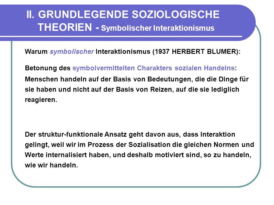 II. GRUNDLEGENDE SOZIOLOGISCHE THEORIEN - Symbolischer Interaktionismus Warum symbolischer Interaktionismus (1937 HERBERT BLUMER): Betonung des symbol