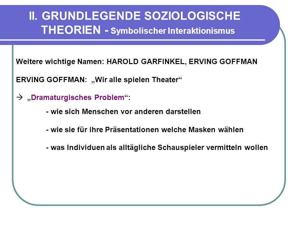 II. GRUNDLEGENDE SOZIOLOGISCHE THEORIEN - Symbolischer Interaktionismus Weitere wichtige Namen: HAROLD GARFINKEL, ERVING GOFFMAN ERVING GOFFMAN: Wir a