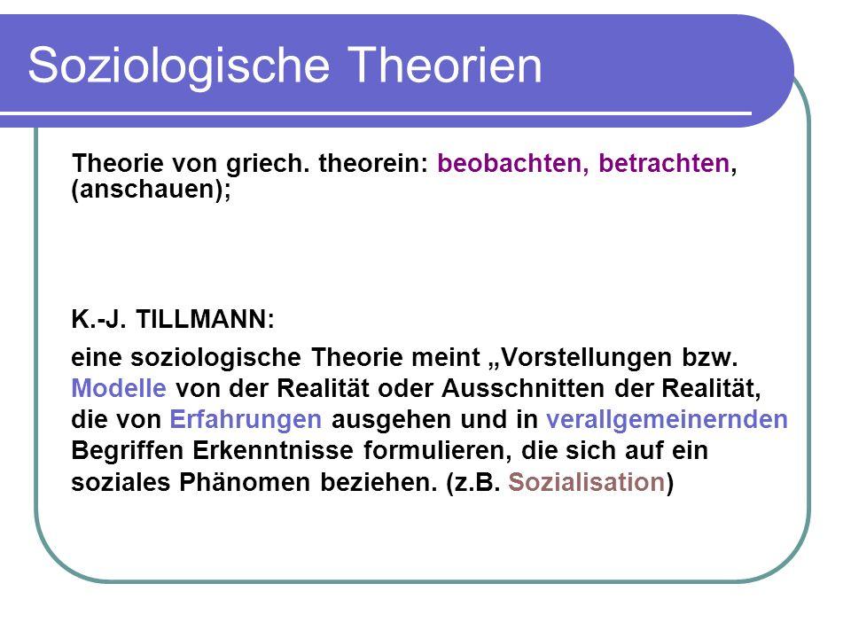 Soziologische Theorien Theorie von griech.theorein: beobachten, betrachten, (anschauen); K.-J.