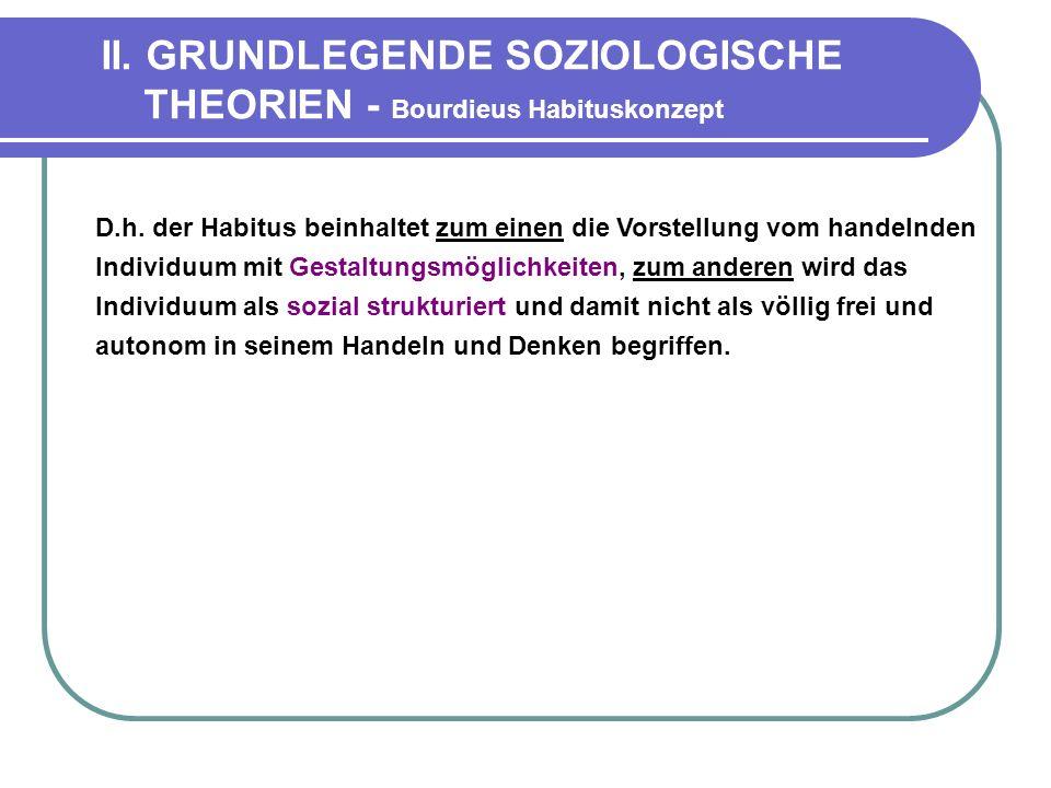 II.GRUNDLEGENDE SOZIOLOGISCHE THEORIEN - Bourdieus Habituskonzept D.h.