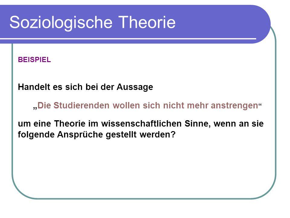 Soziologische Theorie BEISPIEL Handelt es sich bei der Aussage Die Studierenden wollen sich nicht mehr anstrengen um eine Theorie im wissenschaftlichen Sinne, wenn an sie folgende Ansprüche gestellt werden?