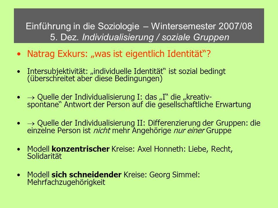 Einführung in die Soziologie – Wintersemester 2007/08 5. Dez. Individualisierung / soziale Gruppen Natrag Exkurs: was ist eigentlich Identität? Inters