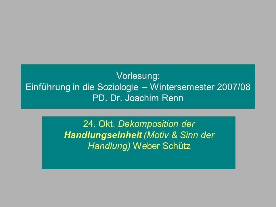 Vorlesung: Einführung in die Soziologie – Wintersemester 2007/08 PD. Dr. Joachim Renn 24. Okt. Dekomposition der Handlungseinheit (Motiv & Sinn der Ha