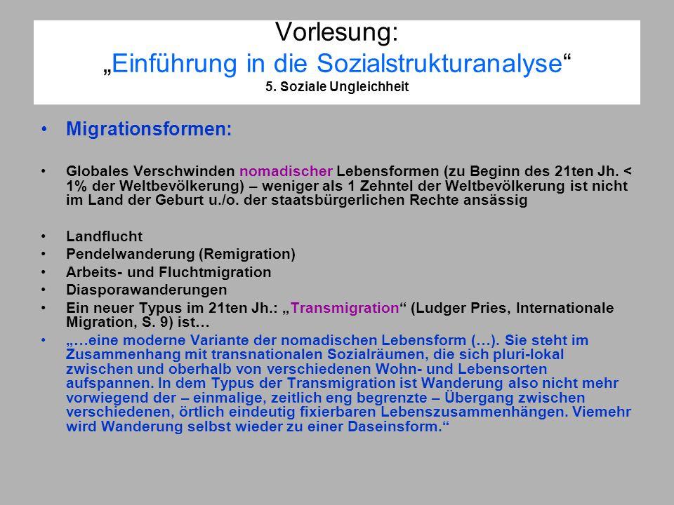 Vorlesung:Einführung in die Sozialstrukturanalyse 5. Soziale Ungleichheit Migrationsformen: Globales Verschwinden nomadischer Lebensformen (zu Beginn