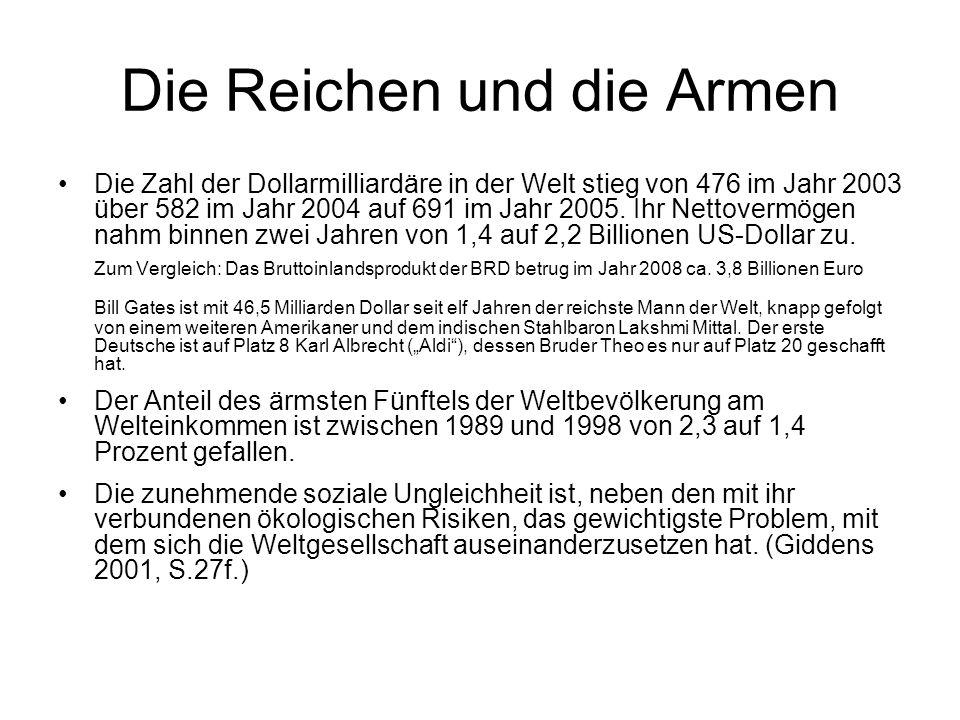Die Reichen und die Armen Die Zahl der Dollarmilliardäre in der Welt stieg von 476 im Jahr 2003 über 582 im Jahr 2004 auf 691 im Jahr 2005.