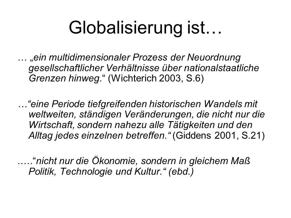 Globalisierung ist… … ein multidimensionaler Prozess der Neuordnung gesellschaftlicher Verhältnisse über nationalstaatliche Grenzen hinweg. (Wichteric