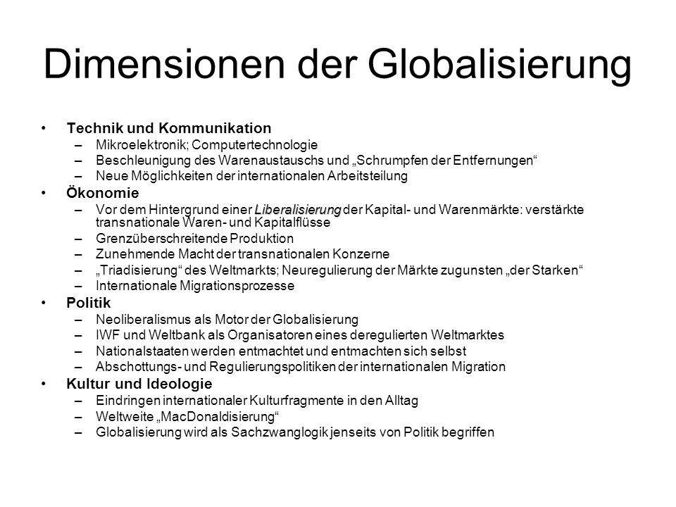 Dimensionen der Globalisierung Technik und Kommunikation –Mikroelektronik; Computertechnologie –Beschleunigung des Warenaustauschs und Schrumpfen der