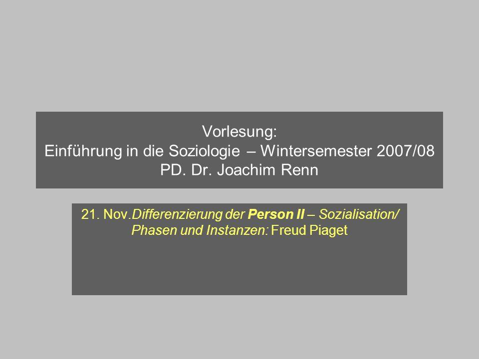 Vorlesung: Einführung in die Soziologie – Wintersemester 2007/08 PD. Dr. Joachim Renn 21. Nov.Differenzierung der Person II – Sozialisation/ Phasen un