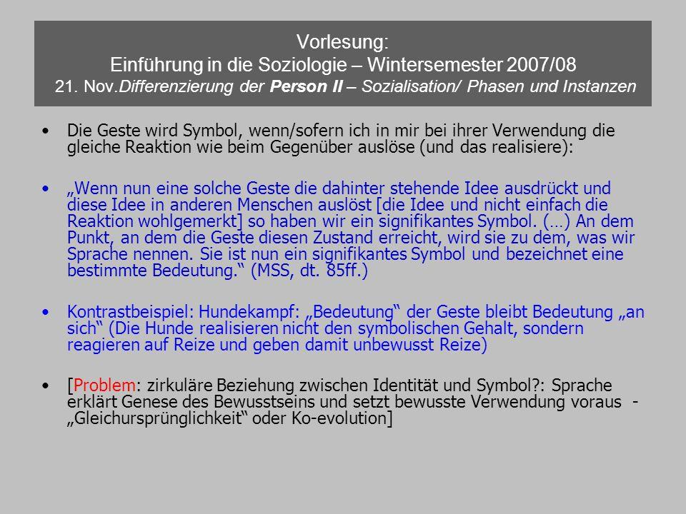 Vorlesung: Einführung in die Soziologie – Wintersemester 2007/08 21. Nov.Differenzierung der Person II – Sozialisation/ Phasen und Instanzen Die Geste